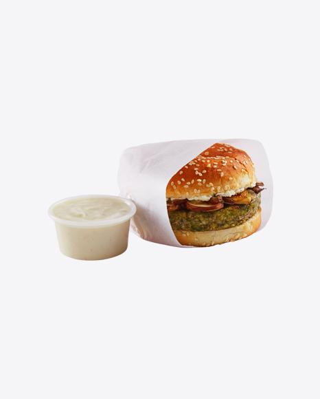 Vegan Burger in Paper Wrap & Sauce