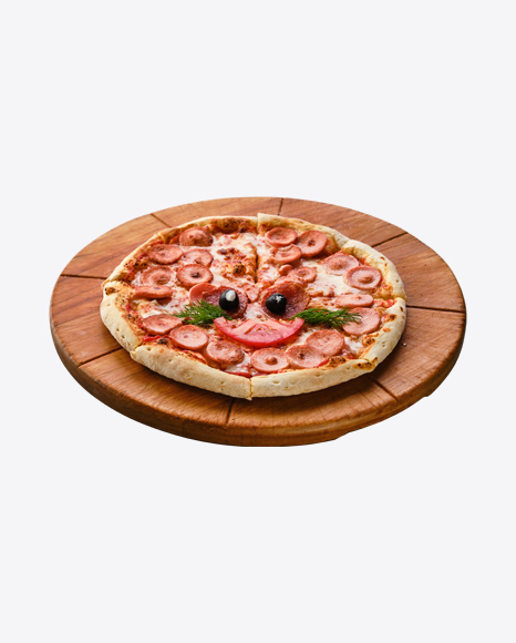 Pizza w/ Sausage Slices on Wooden Board