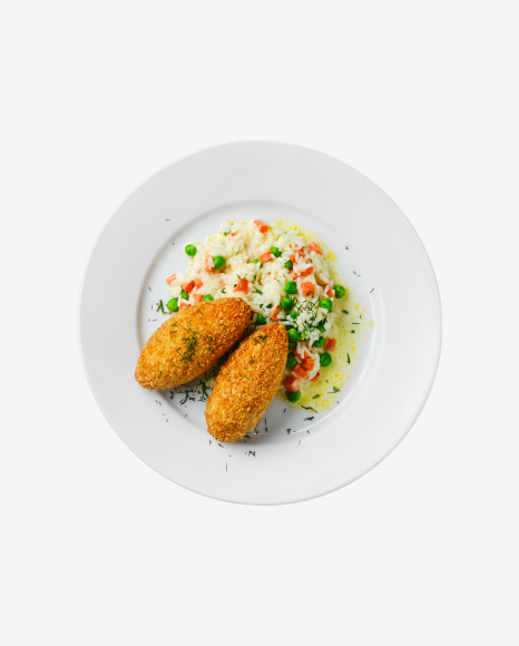 Fried Cutlet w/ Rice & Vegetables