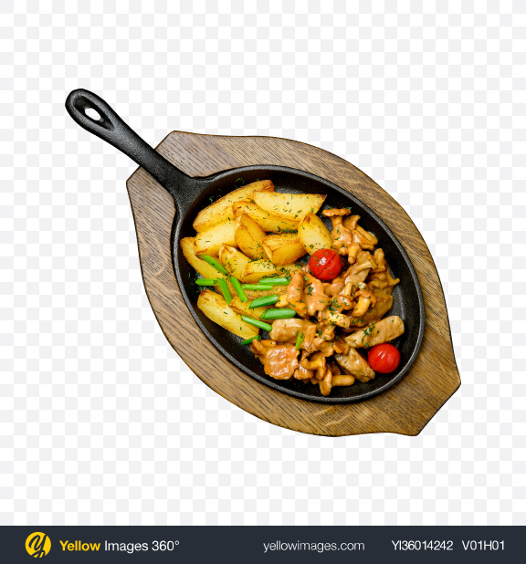 Download Country Potatoes w/ Chanterelles & Meat Transparent PNG on YELLOW Images
