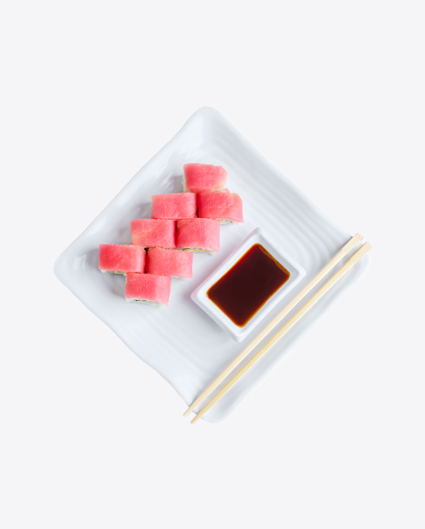 Tuna Rolls w/ Soy Sauce & Chopsticks