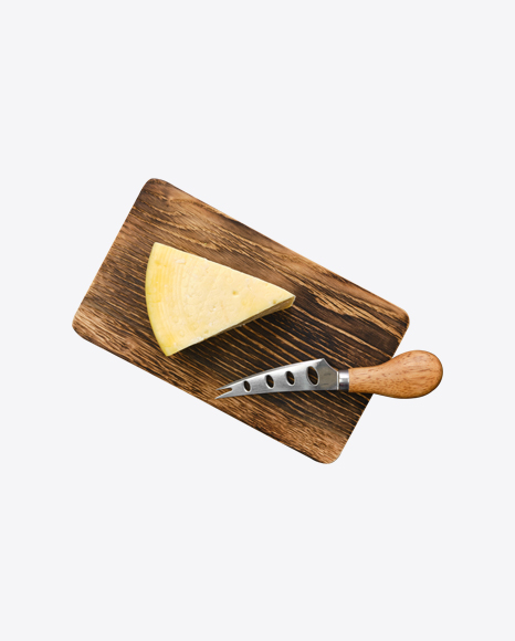 Cheese Block w/ Knife on Wooden Board