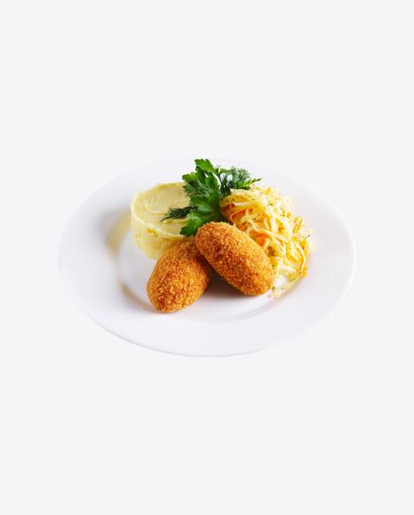 Cutlets w/ Salad & Mashed Potatoes