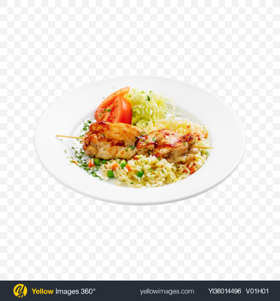 Download Rice w/ Teriyaki Chicken on Stick & Vegetables Transparent PNG on YELLOW Images