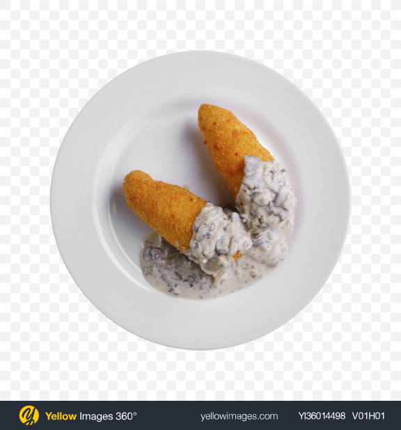 Download Fried Cutlets w/ Mushrooms & Sour Cream Transparent PNG on YELLOW Images