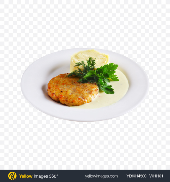 Download Cutlet w/ Mushed Potatoes Transparent PNG on YELLOW Images