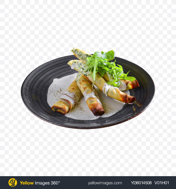 Download Roasted Rolls w/ Cream Cheese & Greens Transparent PNG on YELLOW Images
