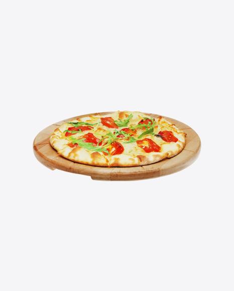 Pizza Margarita on Wooden Plate