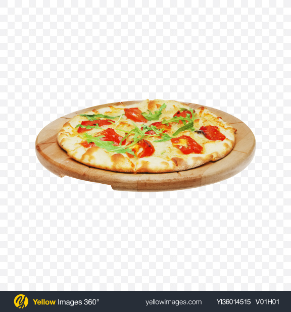 Download Pizza Margarita on Wooden Plate Transparent PNG on YELLOW Images
