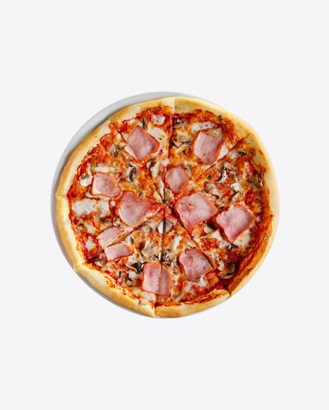 Pizza w/ Mushrooms & Ham Slices