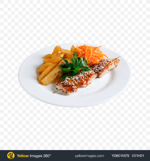 Download Roasted Teriyaki Fish on Stick w/ Chopped Carrot & Potato Transparent PNG on YELLOW Images