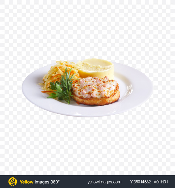 Download Baked Meat w/ Mashed Potatoes & Cabbage Salad Transparent PNG on YELLOW Images