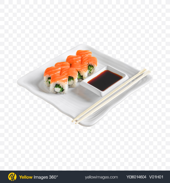 Download Philadelphia Roll w/ Soy Sauce & Chopsticks Transparent PNG on YELLOW Images