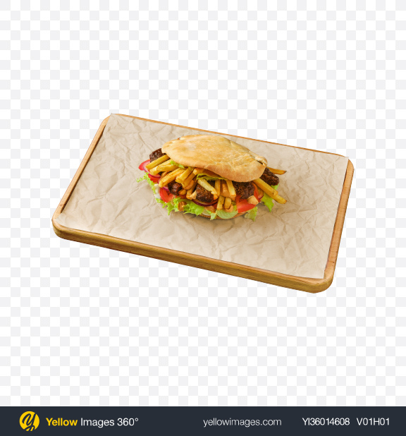 Download Pita Pocket w/ Meat Balls & French Fries Transparent PNG on YELLOW Images