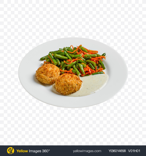 Download Fried Cutlets w/ Vegetables & Sour Cream Transparent PNG on YELLOW Images