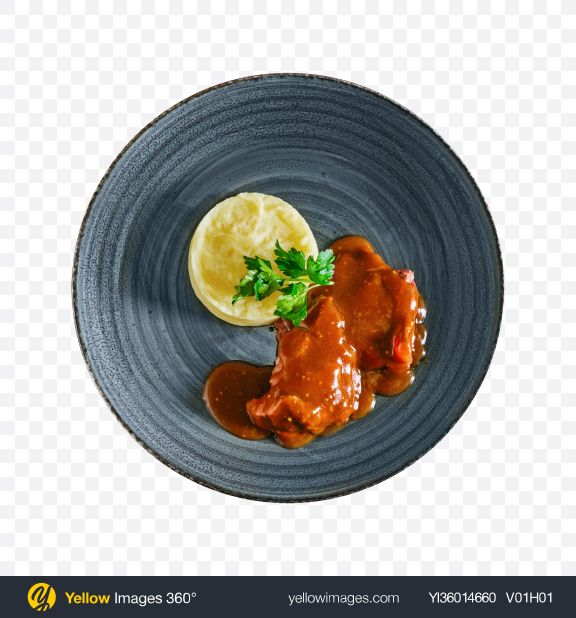 Download Meat in Gravy w/ Mashed Potatoes Transparent PNG on YELLOW Images