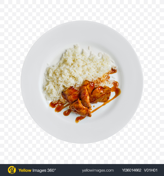 Download Rice w/ Teriyaki Chicken Transparent PNG on YELLOW Images