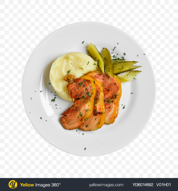 Download Baked Bacon w/ Mashed Potatoes Transparent PNG on YELLOW Images