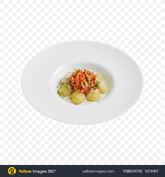 Download Baby Potatoes w/ Meat Slices & Cream Gravy Transparent PNG on YELLOW Images