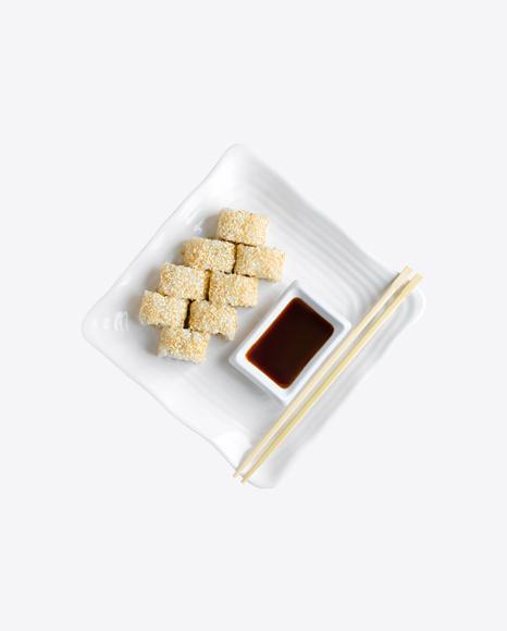 Sushi Rolls w/ Soy Sauce & Chopsticks