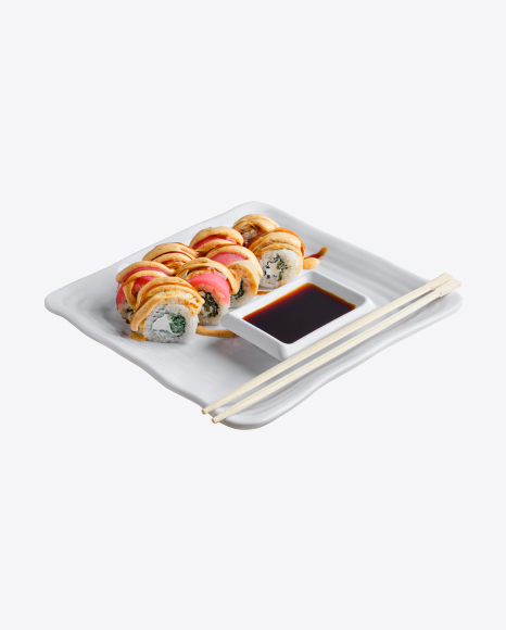Rainbow Roll w/ Soy Sauce & Chopsticks
