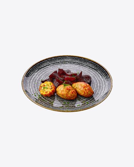 Meatballs w/ Beetroot & Corn Slice