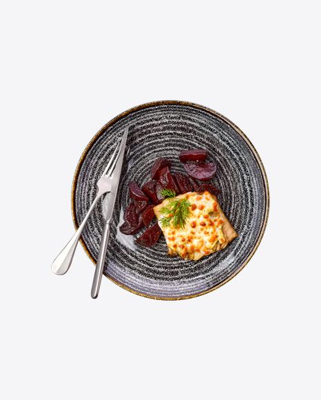 Baked Meat w/ Beetroot & Tableware