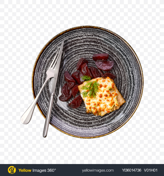 Download Baked Meat w/ Beetroot & Tableware Transparent PNG on YELLOW Images