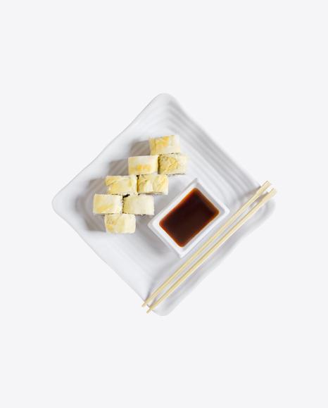 Vegetarian Sushi Rolls w/ Soy Sauce & Chopsticks