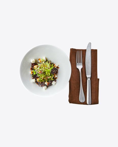 Salad w/ Beetroot, Feta Cheese & Tableware Set