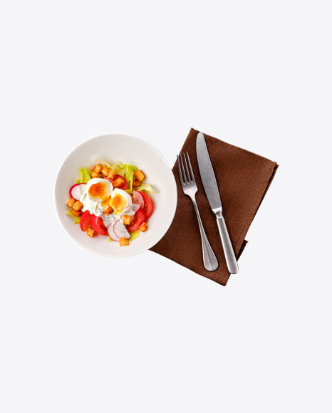 Salad w/ Chicken Egg & Tableware Set