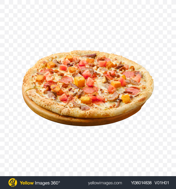 Download Pizza w/ Meat, Sausage Slices & Vegetables Transparent PNG on YELLOW Images