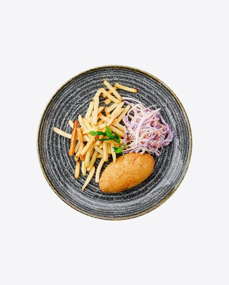 Fried Cutlet w/ French Fries & Cabbage Salad