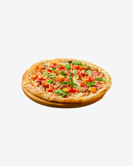 Pizza w/ Meat, Sausage Slices, Vegetables & Arugula Leaves
