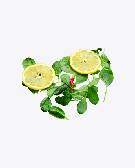 Spinach Leaves Pile w/ Lemon Slices & Dried Chili Pepper