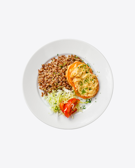 Baked Meat w/ Buckwheat & Cabbage Salad