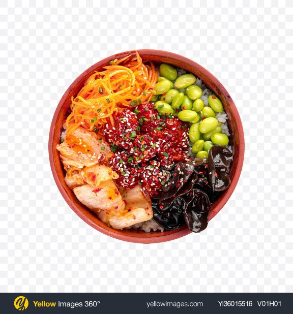 Download Poke Bowl w/ Chicken & Kimchi Transparent PNG on YELLOW Images