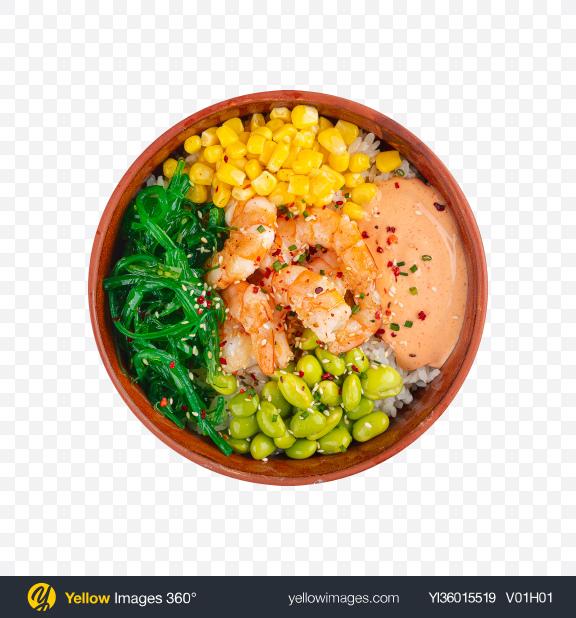 Download Poke Bowl w/ Shrimps & Vegetables Transparent PNG on YELLOW Images