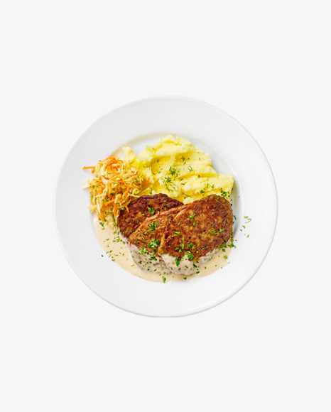 Roasted Cutlets w/ Mashed Potatoes & Cabbage Salad