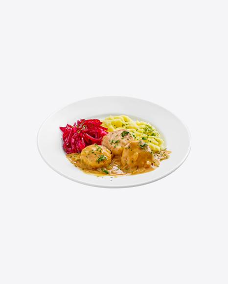 Meatballs in Gravy w/ Mushed Potatoes & Chopped Beetroot