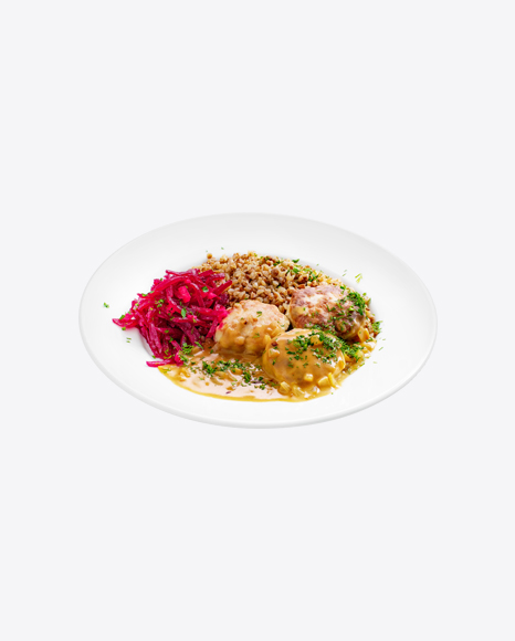 Meatballs in Gravy w/ Buckwheat & Chopped Beetroot