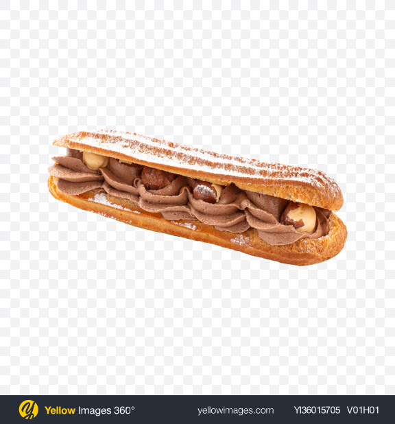 Download Eclair w/ Hazelnuts & Cream Transparent PNG on YELLOW Images