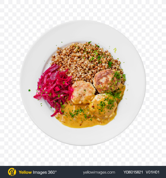 Download Meatballs in Gravy w/ Buckwheat & Chopped Beetroot Transparent PNG on YELLOW Images