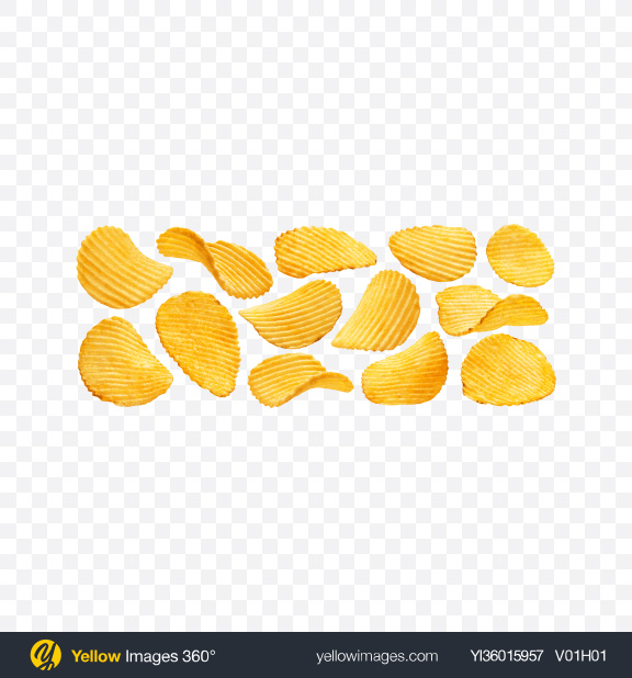 Download Ribbed Potato Chips Set Transparent PNG on YELLOW Images