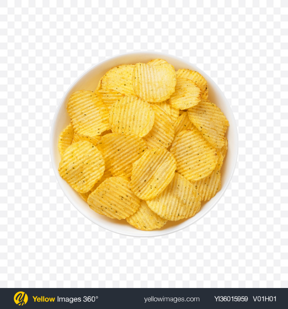 Download Ribbed Potato Chips in Bowl Transparent PNG on YELLOW Images