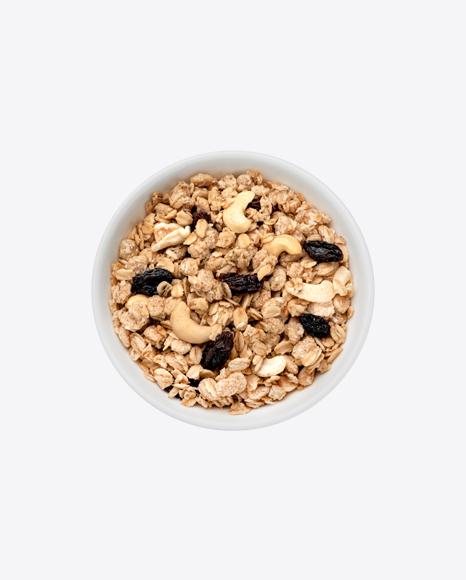 Cereal w/ Cashew & Raisins in Bowl
