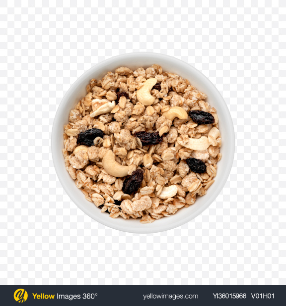 Download Cereal w/ Cashew & Raisins in Bowl Transparent PNG on YELLOW Images