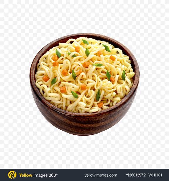 Download Instant Noodles in Wooden Bowl Transparent PNG on YELLOW Images
