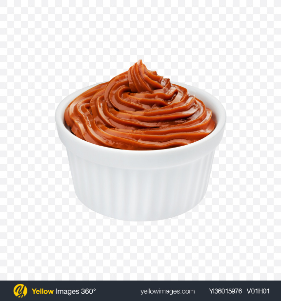 Download Caramel in White Bowl Transparent PNG on YELLOW Images