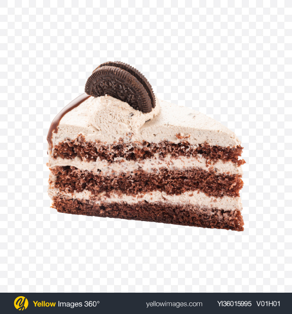 Download Chocolate Cake w/ Cookies Slice Transparent PNG on YELLOW Images